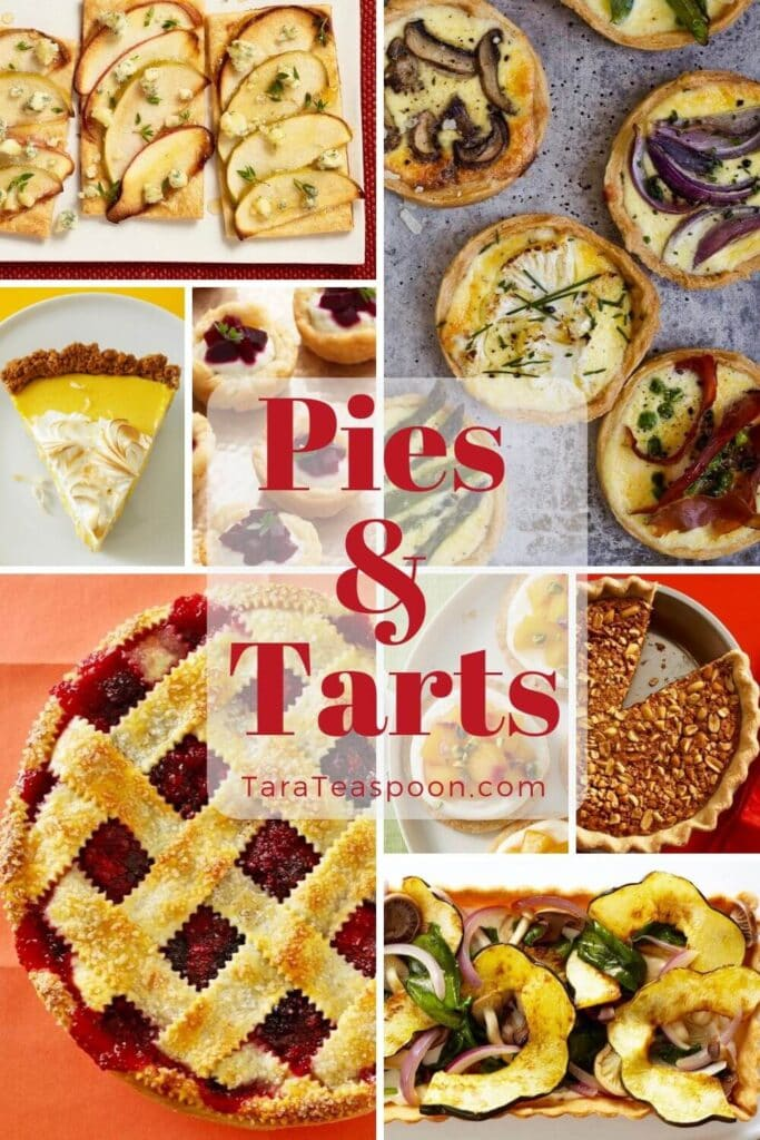 Collage image of various pies and tarts