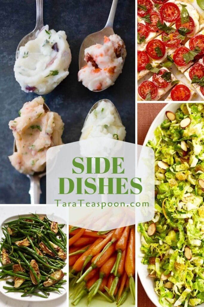 Collage of side dishes carrots beans mashed potatoes