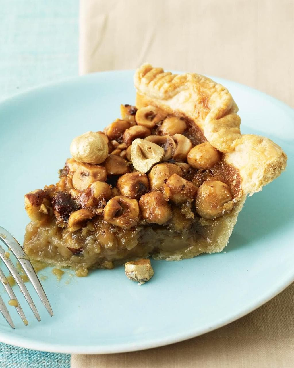 slice of maple caramel pie with hazelnuts