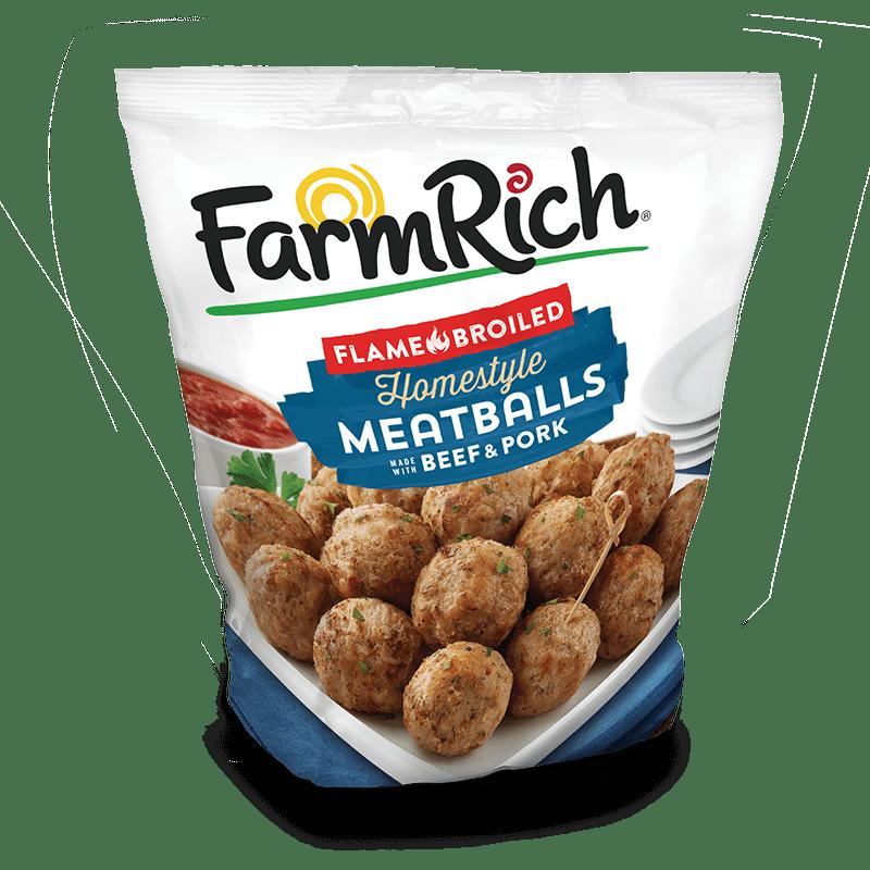 package of Farm Rich frozen meatballs