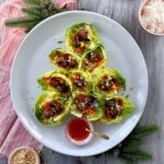 meatball lettuce wraps in shape of christmas tree feature