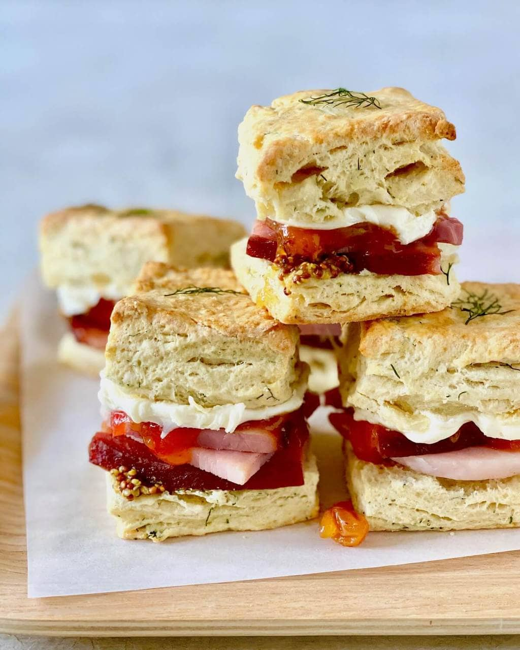 breakfast biscuits with ham and mustard