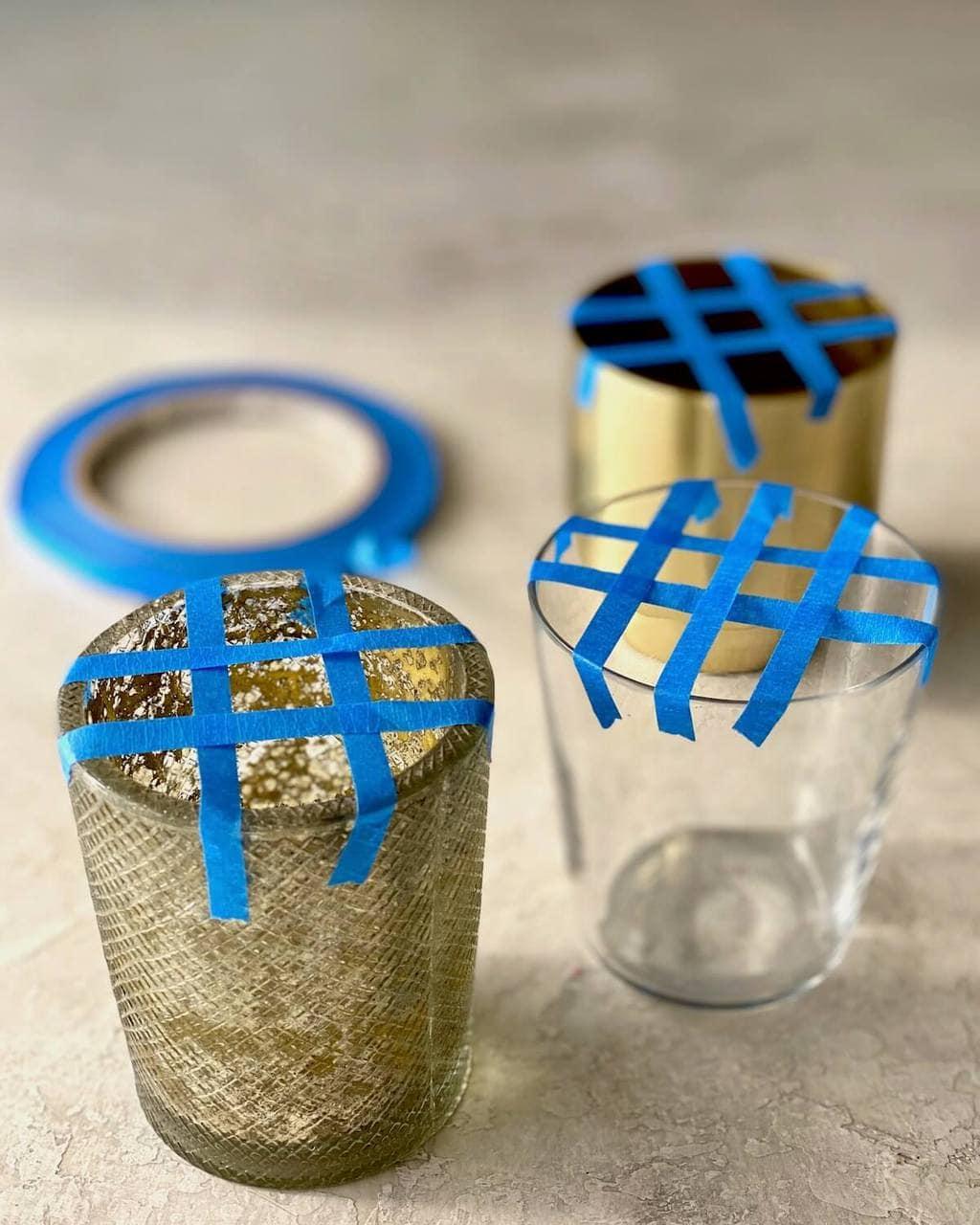 how to make tape grid for flower arranging in little glasses