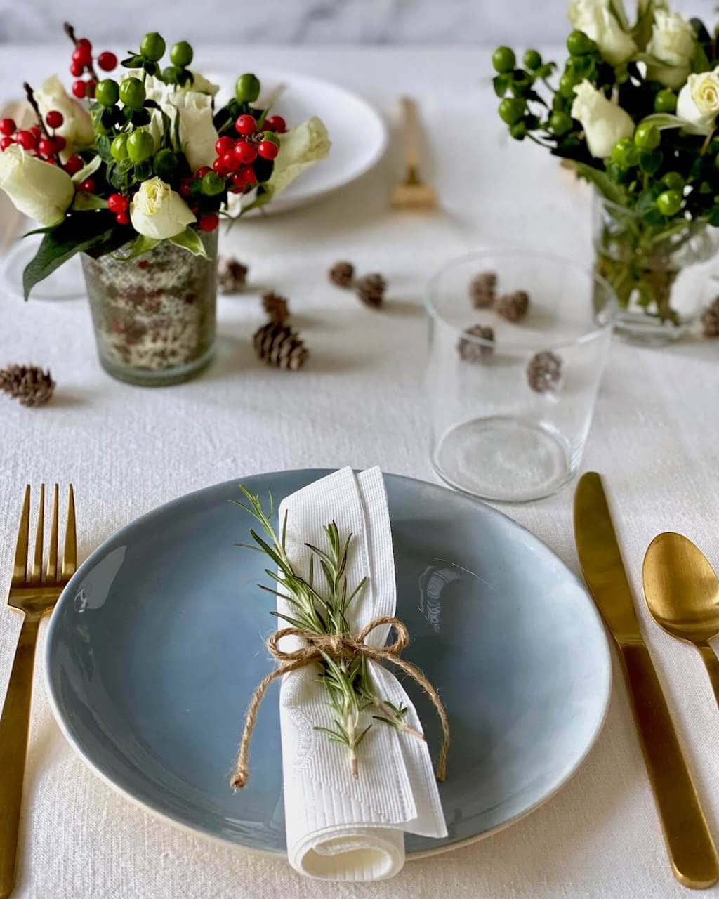 paper napkin with twine and herb table decoration