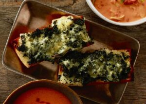 spinach cheese toast on tray