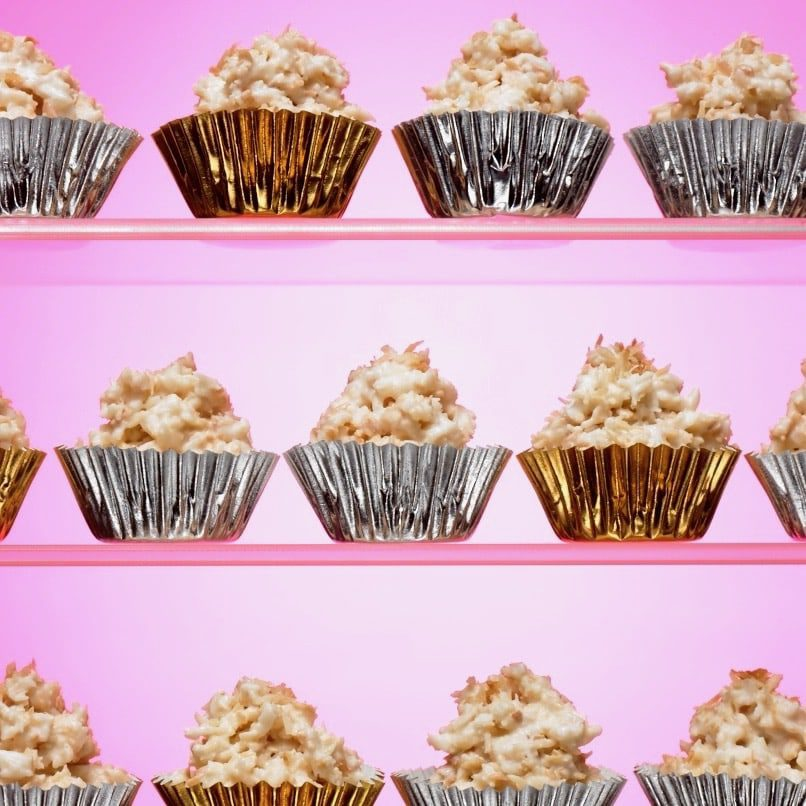 white haystacks candy on pink in candy cups