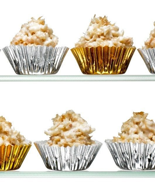 white chocolate haystacks candy in metallic cups