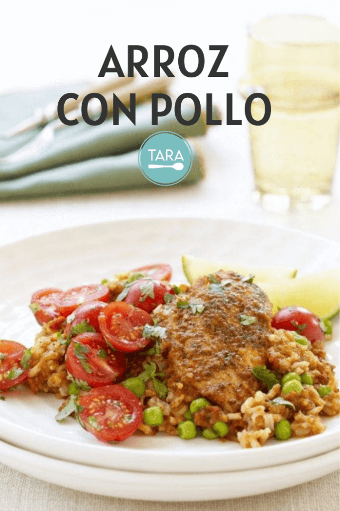 Arroz con Pollo Pinterest Pin with Tara Teaspoon logo