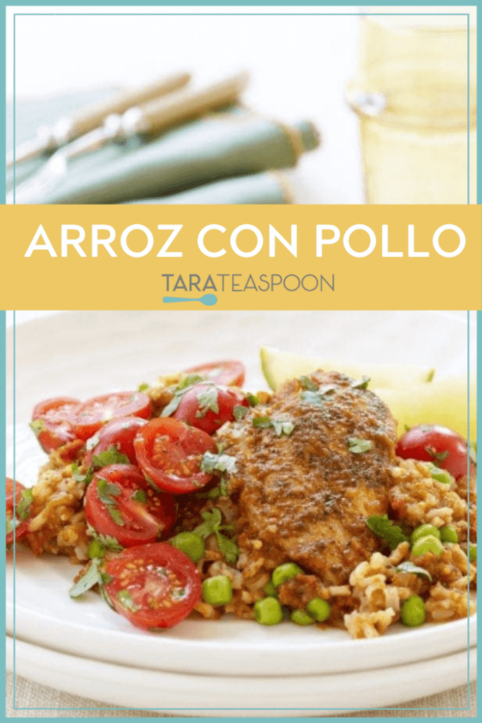 Arroz con Pollo Pinterest Pin with yellow banner