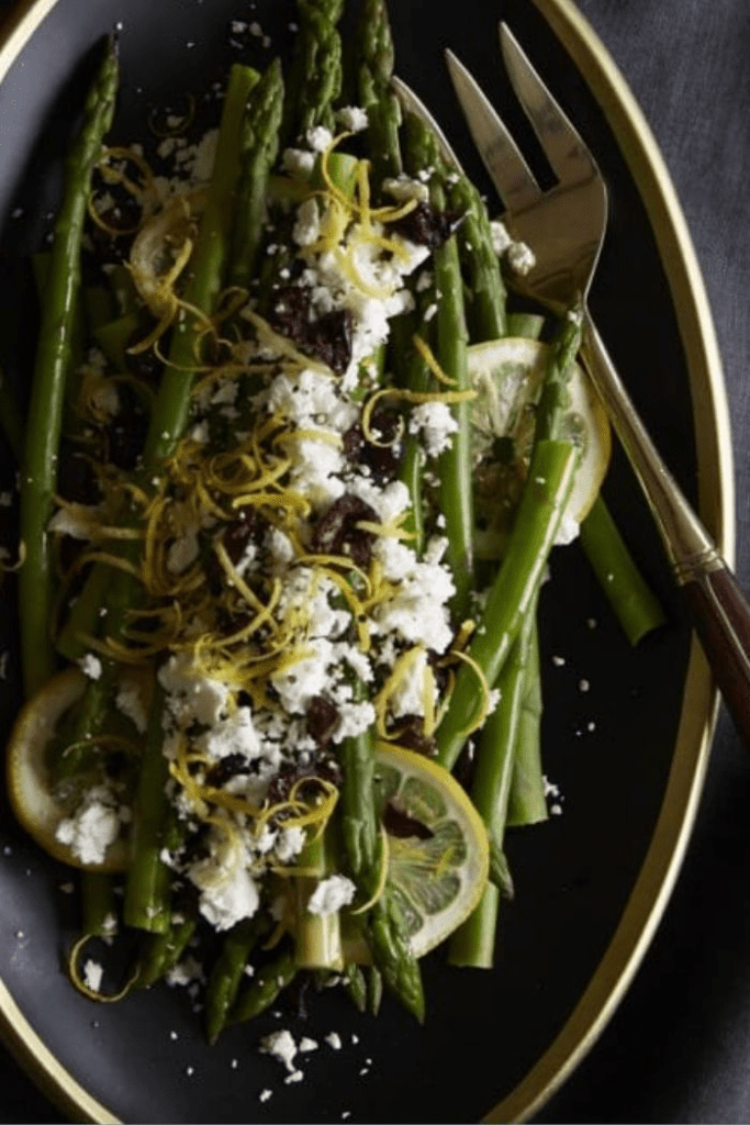 Asparagus with Lemon, Feta & Olives