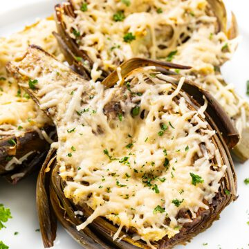 Easy Roasted Artichokes Recipe With Garlic & Parmesan