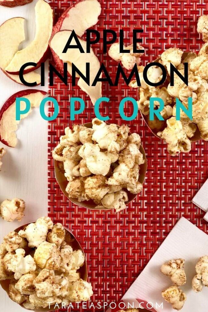 Overhead photo of Apple Cinnamon Popcorn Pinterest pin