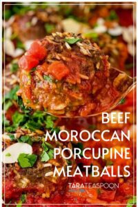 beef moroccan porcupine meatballs pin