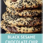 Stack of Black Sesame Chocolate Chip Cookies Pinterest Pin