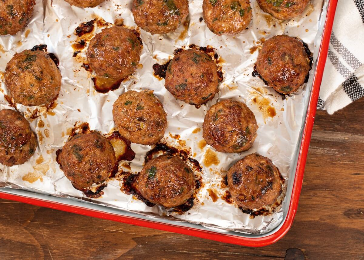 Chipotle Chicken Meatballs on baking sheet just out of the oven