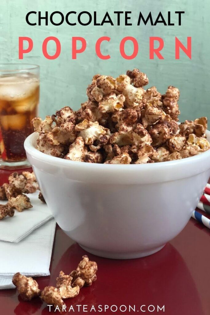 Chocolate Malt Popcorn Pinterest pin