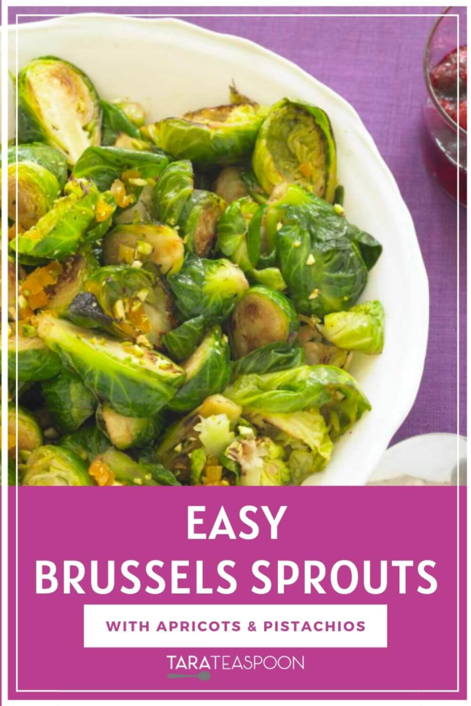 Easy Brussels Sprouts Pinterest Pin with pink background