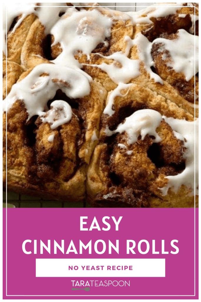 Easy Cinnamon Rolls Pinterest Pin close up
