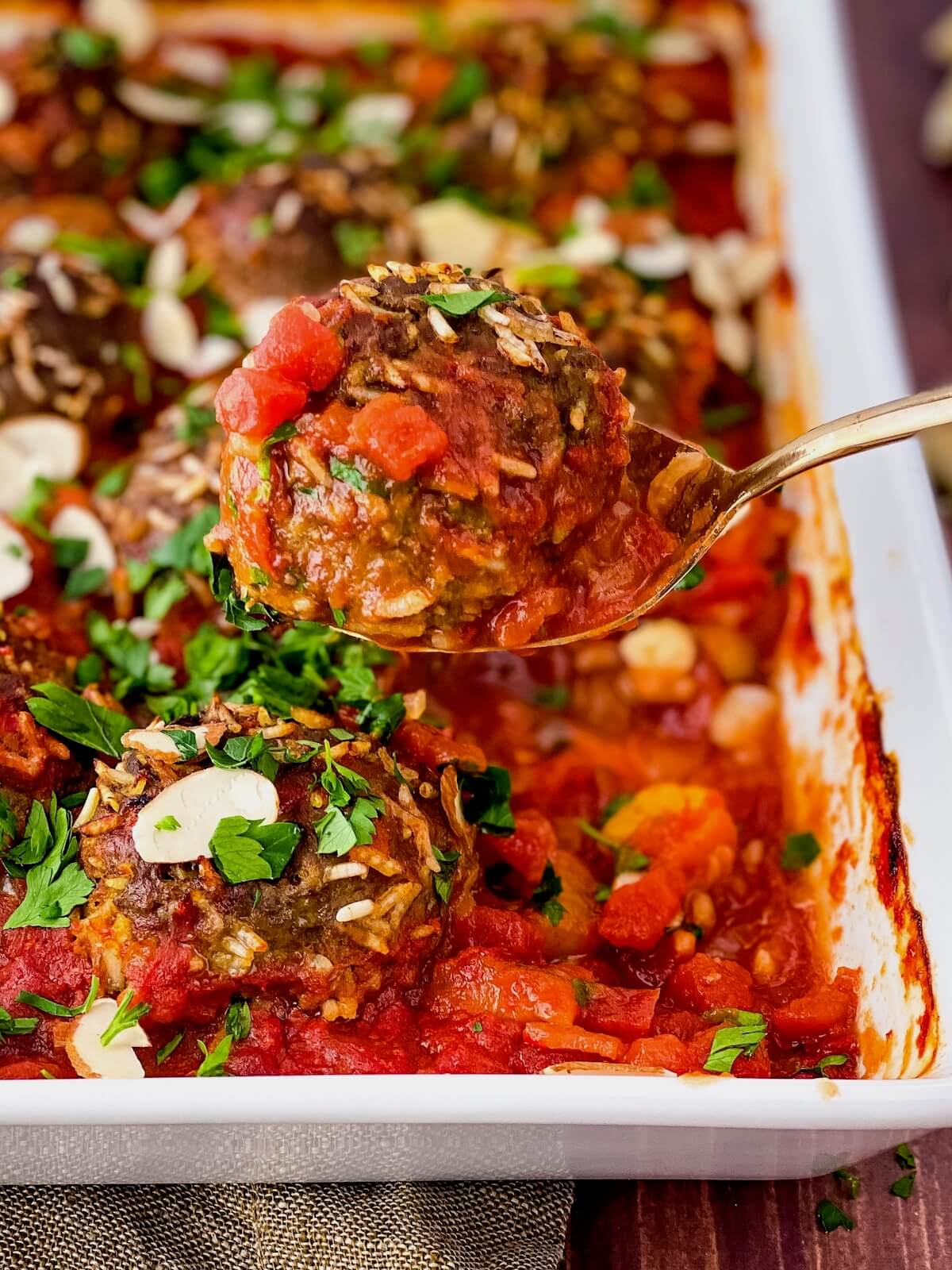 Moroccan porcupine meatball on a spoon