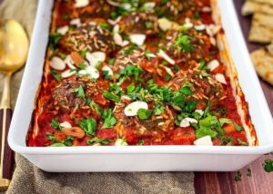 Beef moroccan porcupine meatballs in white serving dish