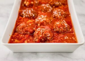 Beef Moroccan Porcupine Meatballs ready for the oven