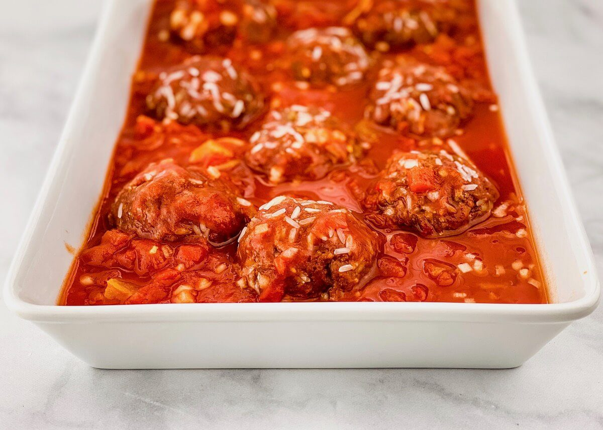 porcupine meatballs with sauce before oven
