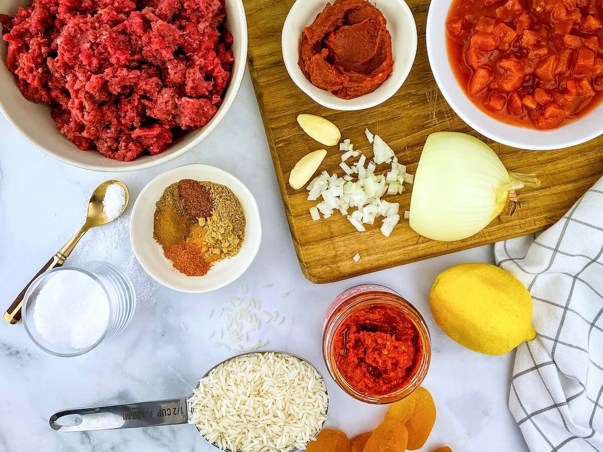 moroccan meatballs ingredients on cutting board
