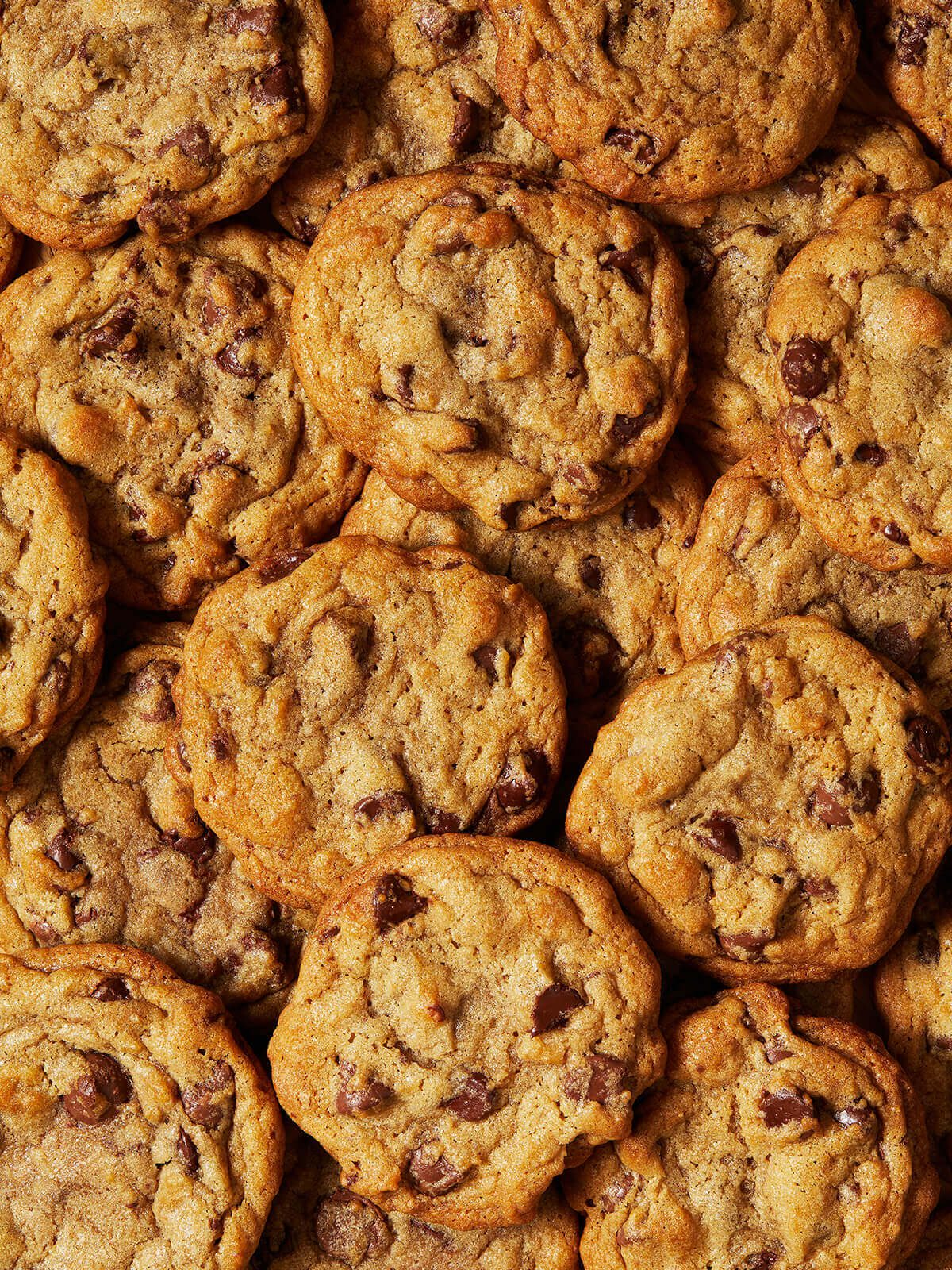 overlapping chocolate chip cookies