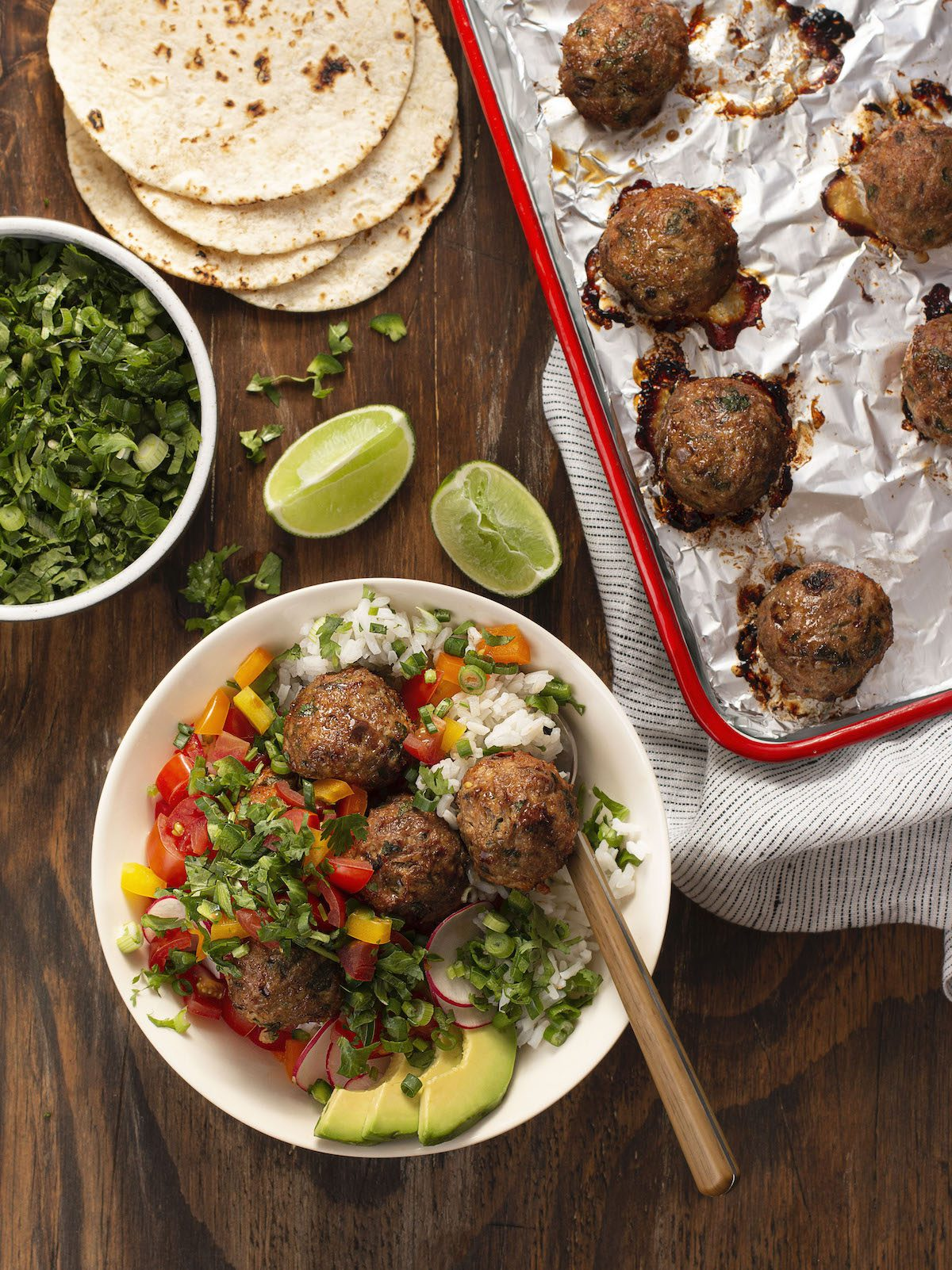 chicken meatballs over rice with salsa