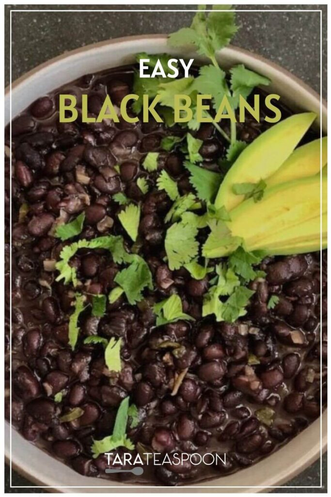Bowl of Authentic Creamy Black Beans Pinterest Pin
