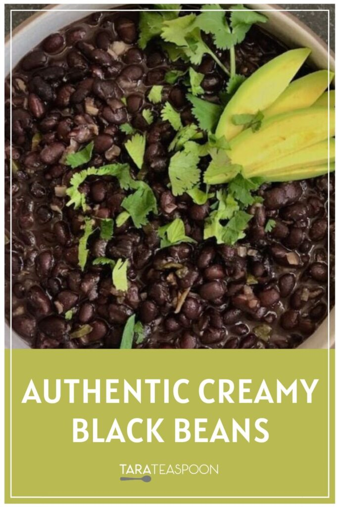 Authentic Creamy Black Beans with Avocado Garnish Pinterest Pin