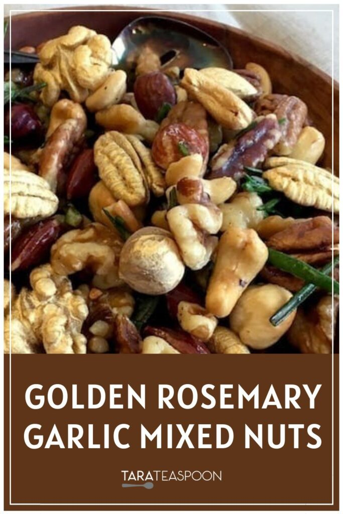 Golden Rosemary Garlic Mixed Nuts Pinterest Pin