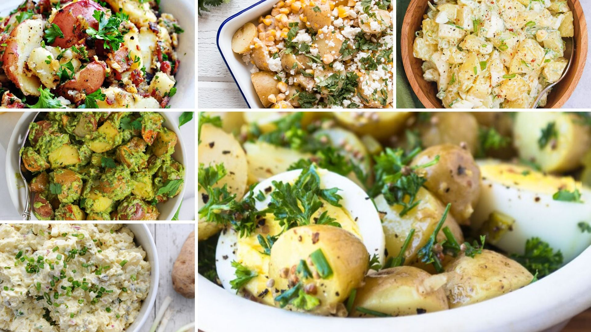 collage of six different recipes for potato salads
