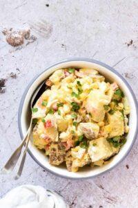 Red Potato Salad in white bowl