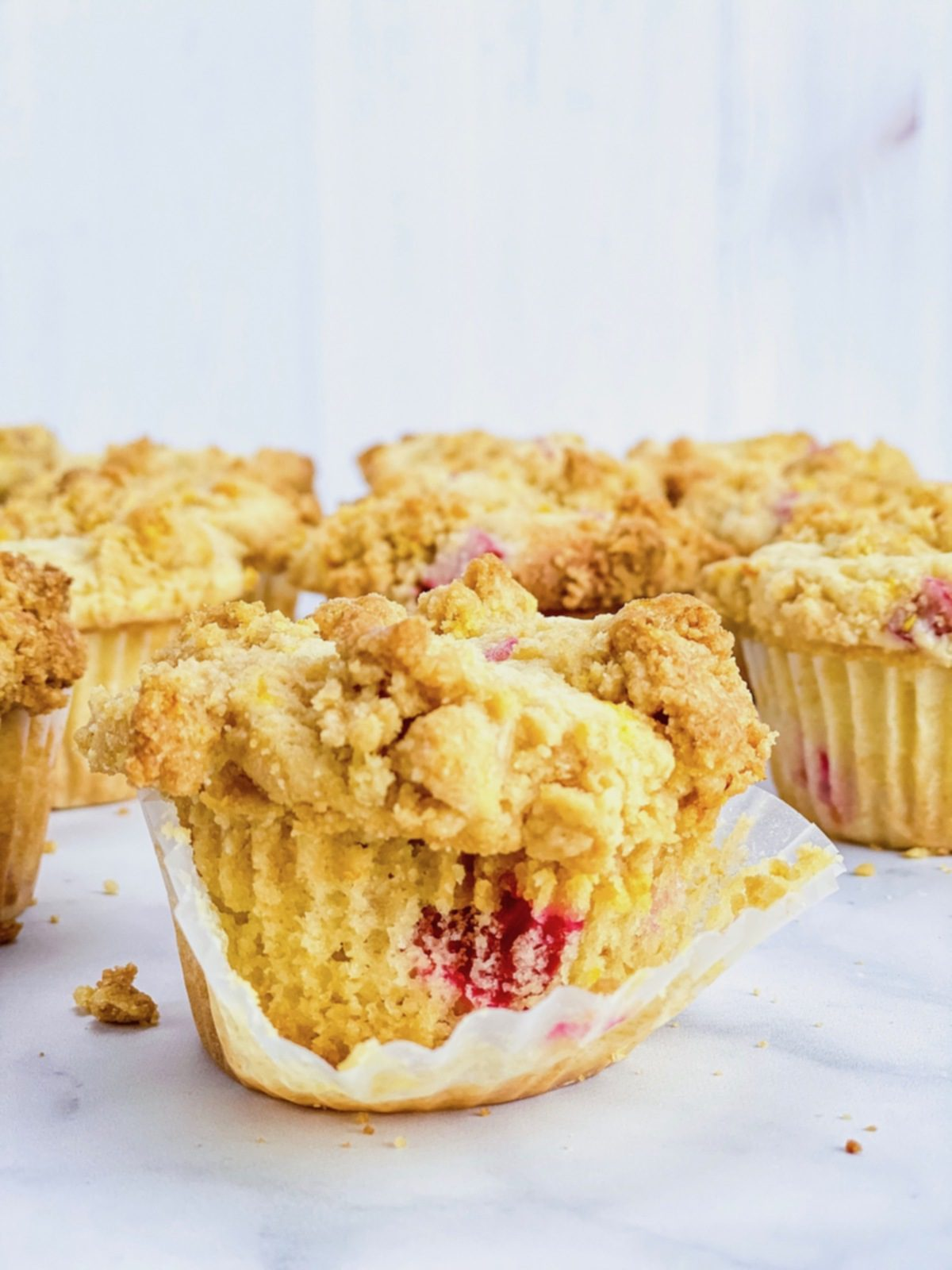 close up of rhubarb streusel muffin