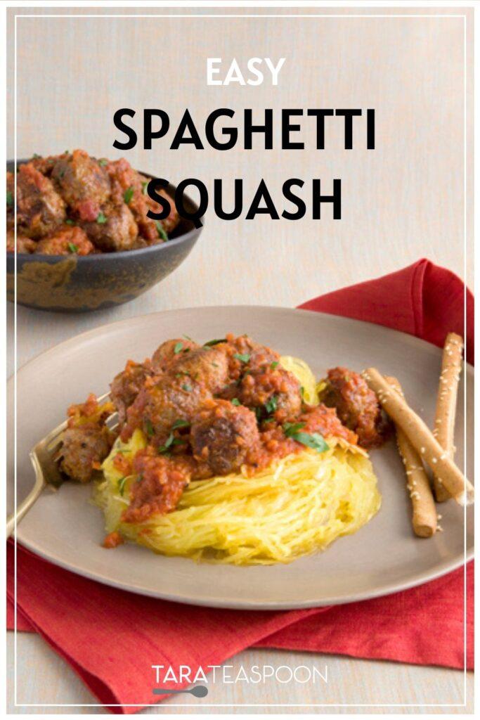 Easy Spaghetti squash with meatballs Pinterest pin