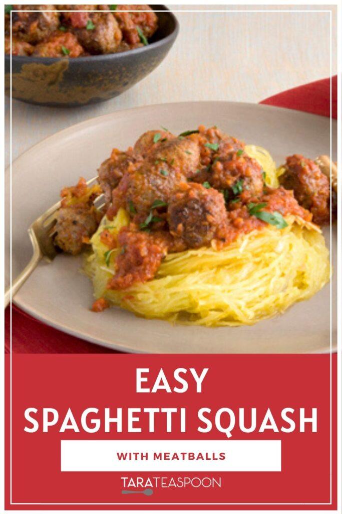 Spaghetti squash with meatballs Pinterest pin