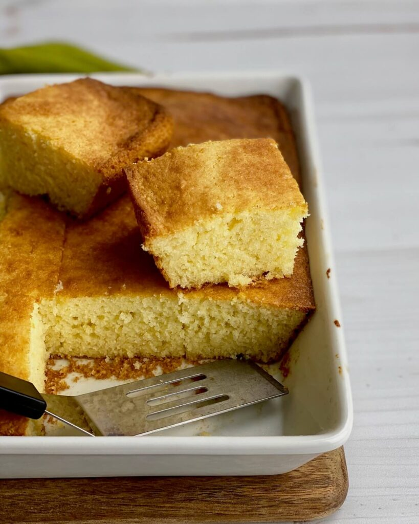 gluten free cornbread cut in pan