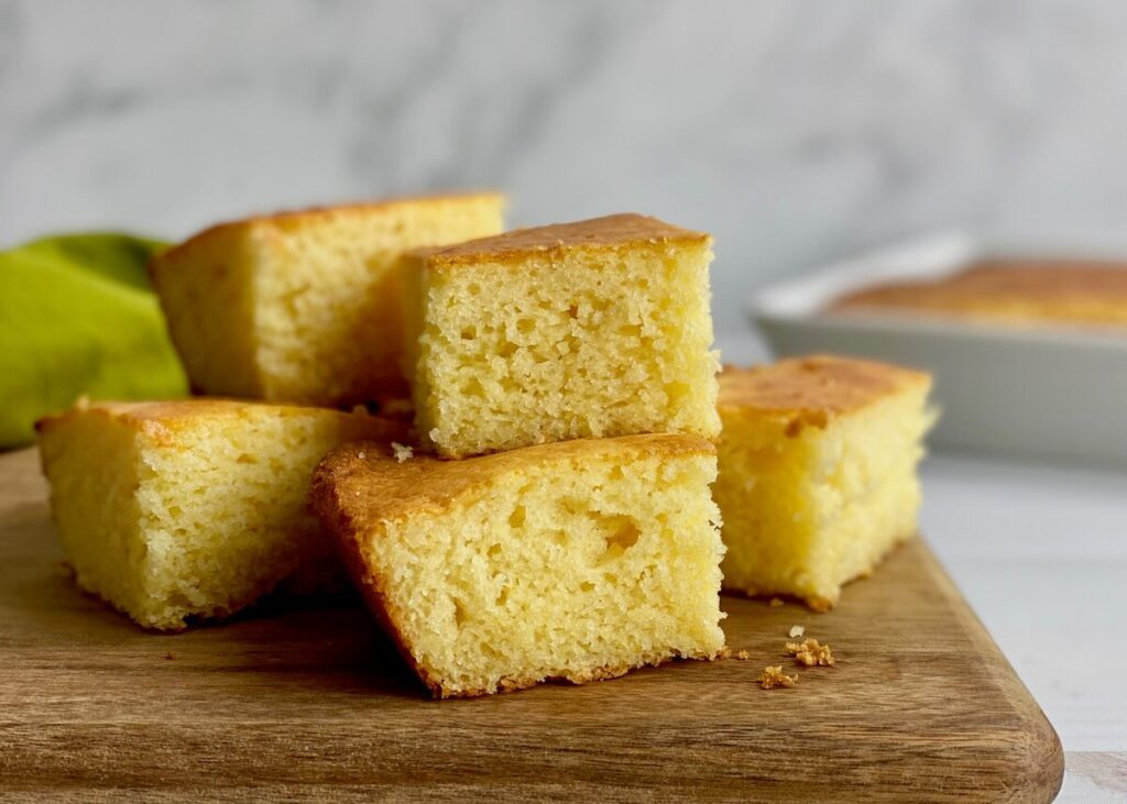 gluten free cornbread pile on cuttingboard
