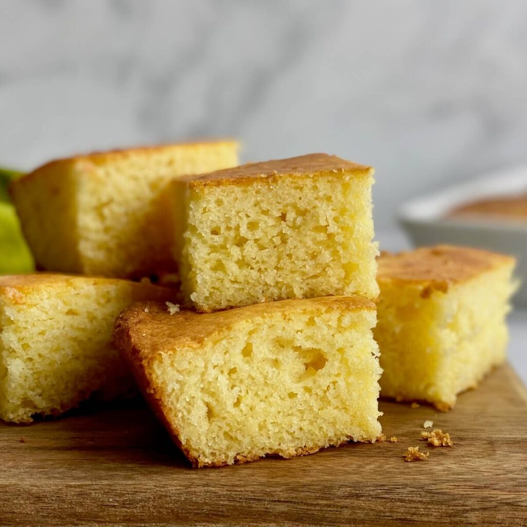 gluten free cornbread close up on board