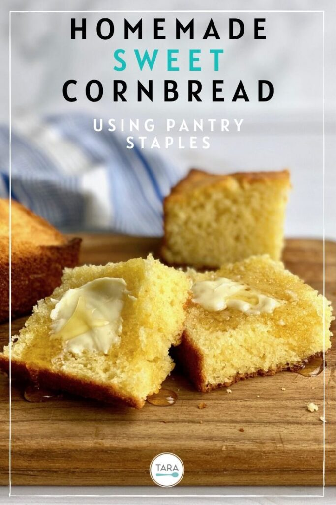 homemade sweet cornbread slices on cutting board pin