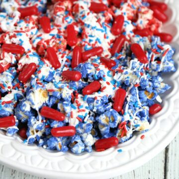 4th of July Popcorn in a white bowl.