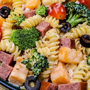 Pasta Salad in dark blue bowl