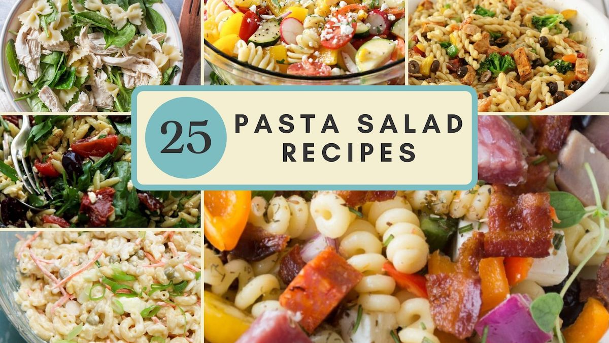 collage of pasta salad recipes with title in the middle