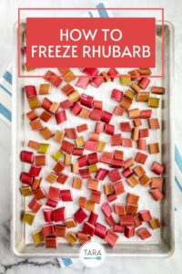pin for how to freeze rhubarb with fruit on a tray