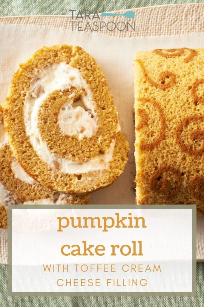 Close up Pinterest Pin image of pumpkin roll cake