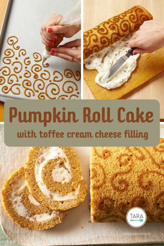 Pumpkin Roll Cake with toffee cream cheese filling Pinterest Pin
