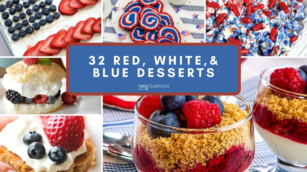 red white and bue desserts collage