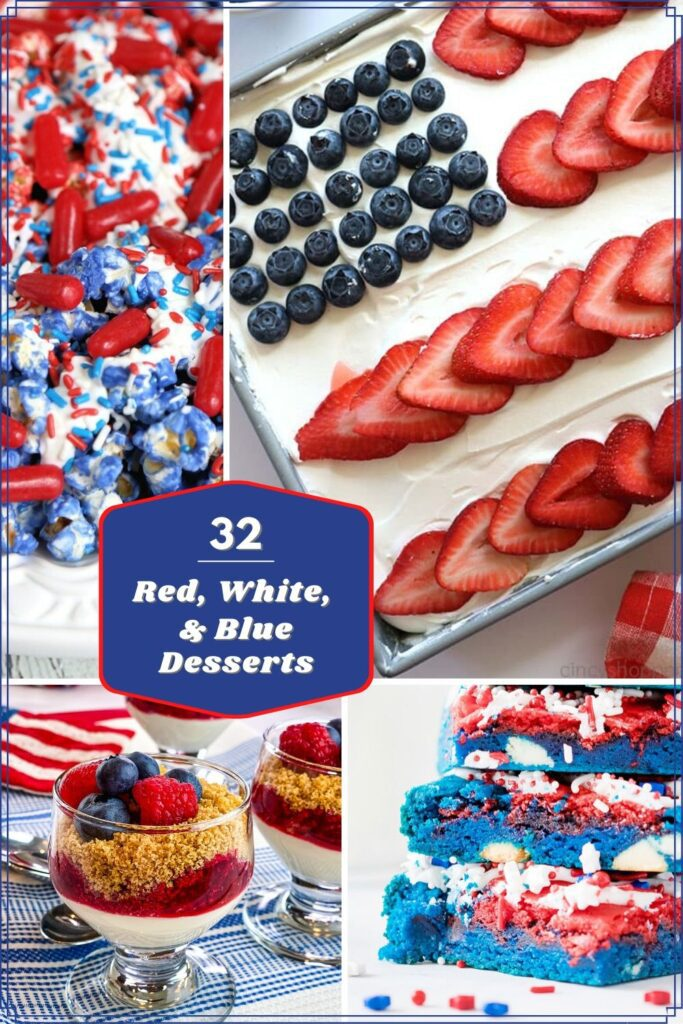 collage image of red white and blue desserts
