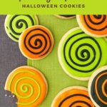 Lime green and orange Spooky Spiral Cookies Pinterest Pin